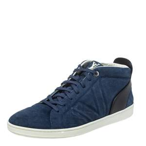 Louis Vuitton Blue/Black Suede And Leather Fuselage High Top Sneakers Size 44