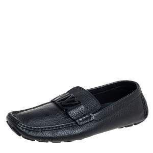 Louis Vuitton Black Leather Monte Carlo Slip On Loafers Size 42.5