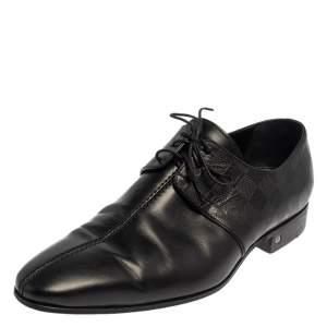Louis Vuitton Black Damier Leather Lace Up Oxfords Size 43
