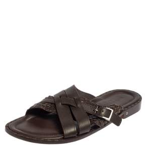 Louis Vuitton Brown Python And Leather Criss-Cross Flat Sandals Size 45