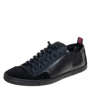 Louis Vuitton Black Leather Low Top Sneakers Size 45.5