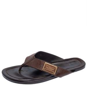 Louis Vuitton Brown Damier Leather Thong Flats Size 45