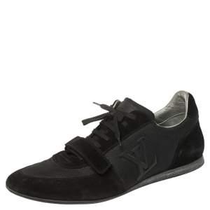 حذاء رياضي لوي فيتون سير فيلكرو مزين شعار الماركة سويدي و شبك أسود مقاس 44.5