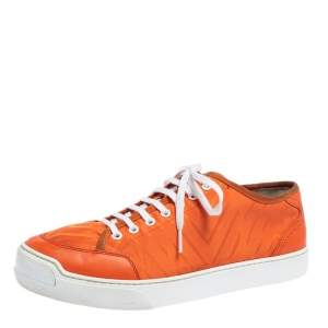 Louis Vuitton Orange Fabric and Leather Sneakers Size 42