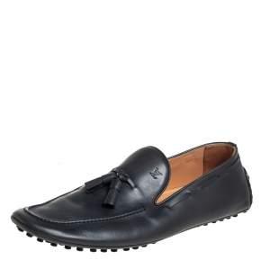 حذاء لوفرز لوي فيتون سليب أون إمولا بشراشيب جلد رصاصي مقاس 42.5
