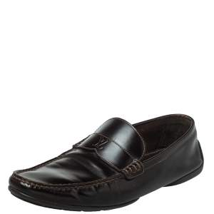Louis Vuitton Brown Leather Slip On Loafers Size 41