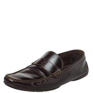 Louis Vuitton Dark Brown Leather Slip On Loafers Size 41