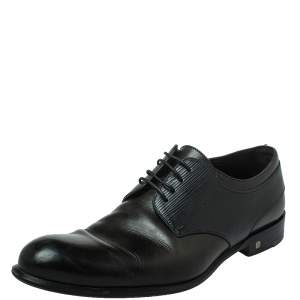 Louis Vuitton Two Tone Leather And Black Epi Leather Lace Up Derby Size 41