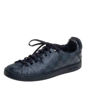 Louis Vuitton Blue Damier Cobalt And Leather Frontrow Low Top Sneakers Size 41