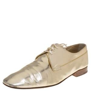 Louis Vuitton Gold Patent  Leather Lace Up Oxford Size 44