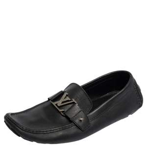Louis Vuitton Black Leather Monte Carlo Slip On Loafer Size 44.5