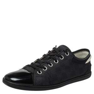 Louis Vuitton Black/Grey Graphite Damier Nylon And  Leather Cap Toe Low Top Sneakers Size 42