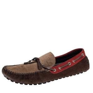 Louis Vuitton Multicolor Leather And Suede Gloria Loafers Size 44.5