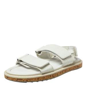 Louis Vuitton White Croc Embossed Leather Flat Slingback Sandals Size 40