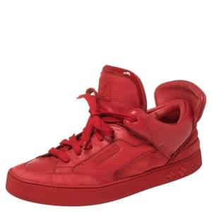 Louis Vuitton x Kanye West Red Leather and Suede Don High Top Sneakers Size 43.5
