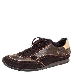 Louis Vuitton Brown Monogram Canvas And Suede Low Top Sneakers Size 46