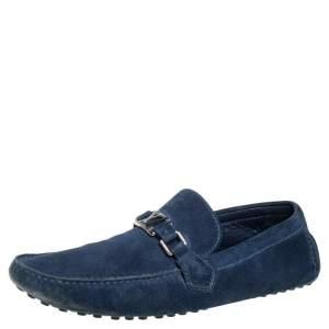 Louis Vuitton Blue Suede Hockenheim Slip On Loafers Size 45