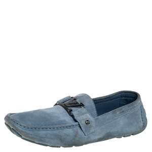 حذاء لوفرز لوي فيتون مونت كارلو سويدي أزرق سليب أون مقاس 46