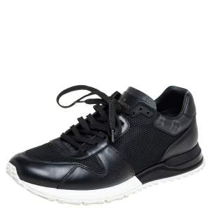 Louis Vuitton Black Mesh And Leather Low Top Sneakers Size 41