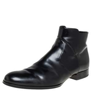 حذاء بوت كاحل لوي فيتون جلد أسود مقاس 43