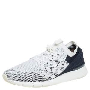 Louis Vuitton White/Blue Mesh Knit Fabric Fastlane Low Top Sneakers Size 44.5