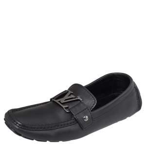 حذاء لوفرز لوي فيتون مونت كارلو جلد أسود سليب أون مقاس 41