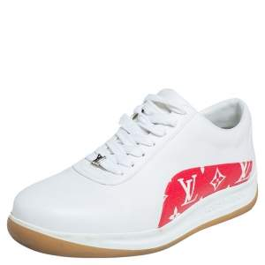 Louis Vuitton x Supreme White Leather and Monogram Canvas Trim Sport Sneakers Size 40