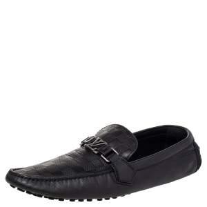 Louis Vuitton Black Damier Infini Leather Hockenheim Slip On Loafers Size 44