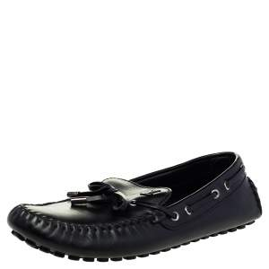 Louis Vuitton Black Leather Bow Slip On Loafers Size 43.5