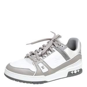 حذاء رياضي لوي فيتون ترينر جلد ومطاط أبيض/ رصاصي عنق منخفض مقاس 40