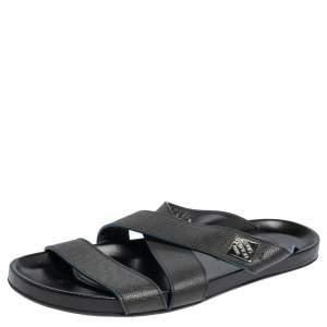 Louis Vuitton Black Leather Criss Cross Strap Flat Slide Sandals Size 40