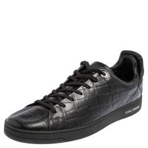Louis Vuitton Black Croc Embossed Leather Front Row Low Top Sneakers Size 44