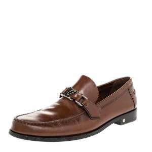 Louis Vuitton Brown Leather Major Loafers Size 43.5