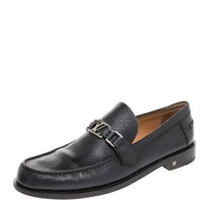 Louis Vuitton Black Leather Major Slip On Loafers Size 43.5