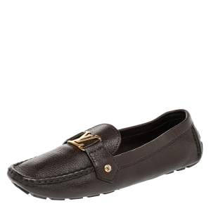 Louis Vuitton Brown Leather Monte Carlo Slip on Loafers Size 42
