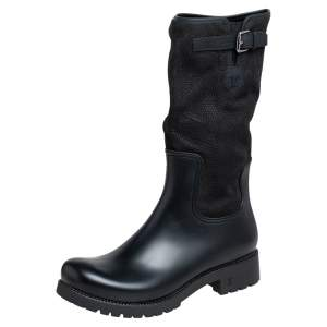 حذاء بوت منتصف ساق لوي فيتون مطاط وسويدي أسود مقاس 44