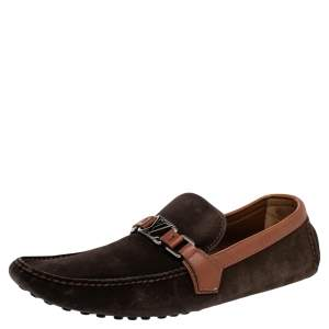 Louis Vuitton Brown Suede And Leather Hockenhein Slip On Loafers Size 45