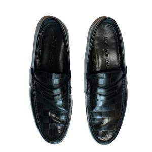 Louis Vuitton Black Damier Embossed Outline Loafers Size EU 43