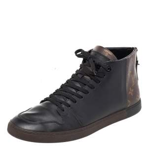 Louis Vuitton Black/Brown Monogram  Coated Canvas  And Leather Line Up High Top Sneakers Size 42
