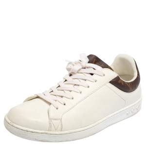 Louis Vuitton White Leather And Monogram Canvas Luxembourg Low Top Sneakers Size 41.5