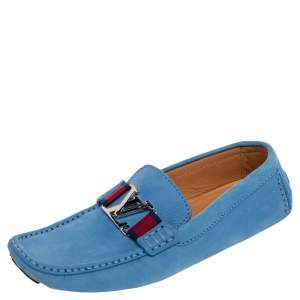 Louis Vuitton Blue Leather Monte Carlo Slip On Loafers Size 42