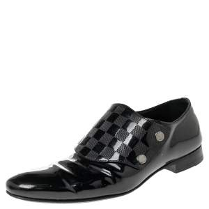 Louis Vuitton Black Patent Leather Monk Strap Loafers Size 42