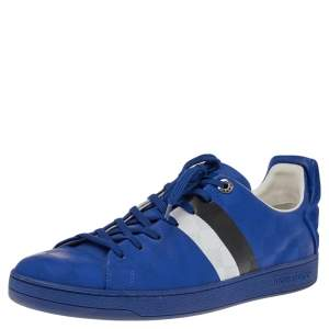 Louis Vuitton Blue Damier Infini Leather Frontrow Lace Up Sneakers Size 42