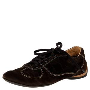 Louis Vuitton Brown Monogram Suede Low Top Sneakers Size 42