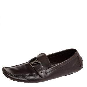 Louis Vuitton Dark Brown Leather Monte Carlo Slip On Loafers Size 44.5
