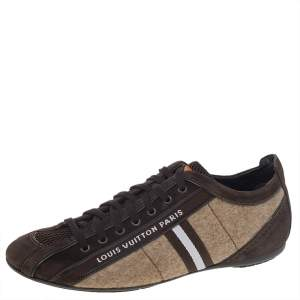 Louis Vuitton Brown/Beige Fabric, Leather, Mesh, and Suede Cosmos Low Top Sneakers Size 40