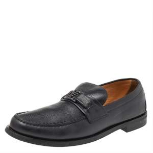 Louis Vuitton Black Leather Major Slip On Loafers 43