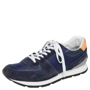 Louis Vuitton Blue Mesh, Leather, And Suede Abbesses Sneakers Size 43