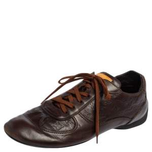 Louis Vuitton Brown Monogram Embossed Leather Lace Up Sneakers Size 43.5