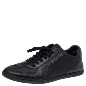 Louis Vuitton Black/Navy Blue Leather And Nylon Low Top Sneakers Size 43
